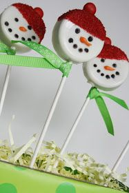 Oreo Snowman Pops - picture only so follow any online recipe for dipping Oreos in melted white chocolate and decorate