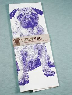 Pug Tea Towel in Purple  Hand Printed Flour Sack Tea by FuzzyMug