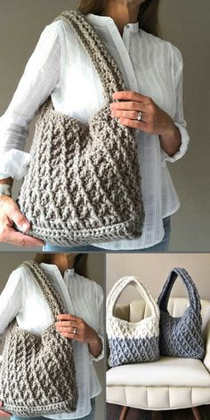 "The ""Kiara Bag"" printable crochet pattern. Crochet Handbags, Crochet Purses, Free Crochet, Knit Crochet, Bag Pattern Free, Hand Dyed Yarn, Learn To Crochet, Crochet Accessories, Knit Patterns"