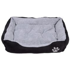 Rectangular grey and black pet bed with embroidered paw detail.