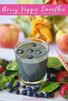 This Berry Veggie Smoothie is filled with Vitamins A, C and fiber.