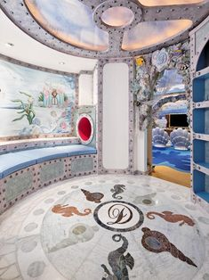 What a fun nautical playroom with playful mosaic on the floors and walls of the entry! interior design by Dahlia Mahmood Little Girl Bedrooms, Girls Bedroom, Bedroom Ideas, Bedroom Decor, Marine Style, Inviting Home, Room Themes, Dream Bedroom, Portfolio Design