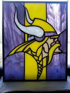 Stained glass Minnesota Viking panel