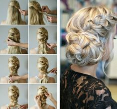 Braided hairstyles, wedding hairstyles, wedding hair and makeup, hair makeu Side Braid Hairstyles, Loose Hairstyles, Party Hairstyles, Wedding Hairstyles, Updos Hairstyle, Quinceanera Hairstyles, Hairstyle Tutorials, Wedding Updo, Celebrity Hairstyles