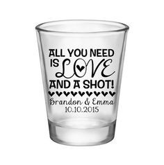 100x All You Need Is Love Custom Wedding Shot Glasses by #BartenderWorks on #Etsy. Perfect Wedding Mementos to Remember Your Special Day! #Weddings #WeddingParty #WeddingFavors #Bride #Groom #AllYouNeedIsLove #SickkJunctions