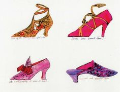 these paintings are by Andy Warhol his a painter who designs mainly old fashioned ladies shoes, as well as painting in negative with a collection of shoes.