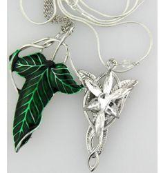 The Hobbit SET silver long Elven Leaf Pendant Arwen Evenstar Pendant necklace// lets nerd out in love Tolkien, Legolas, Gandalf, Leaf Pendant, Crystal Pendant, O Hobbit, Elvish, One Ring, Silver Pendant Necklace
