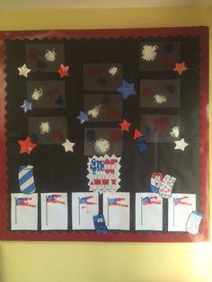 My preschool bulletin board for July/4th of July Forks (fireworks) Hand print flag