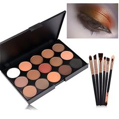 Eyeshadow Palette Start Makers 15 Colors Natural Nude Matte Smokey Eye Shadow with 6 piece Professional Eye shadow Brush * Want to know more, click on the image.