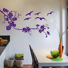 Wall Decals Birds Tree Branch Decal Vinyl Sticker Bathroom Kitchen Window Nursery Bedroom  Home Decor Art Murals MN38