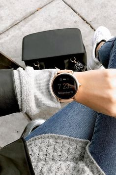 The Q Wander rose gold display smartwatch goes perfectly with all your winter sweaters. via @ toogoldstreet