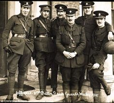 officers from the 2nd Battalion Irish Guards pose for the camera in 1915