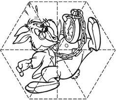 Puzzle infantil para imprimir, colorear y recortar del conejo de Alicia en el País de las Maravillas