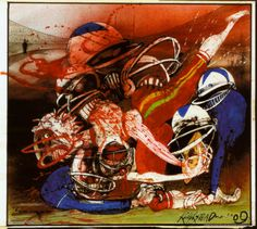 """A great Ralph Steadman art poster! """"Killer Sport"""" - a nightmarish illustration of Football's brutal nature. Check out the rest of our amazing selection of Ralph Steadman posters! Need Poster Mounts. Ralph Steadman, Football Art, Sport Football, Hunter S Thompson, Kunst Poster, Sports Art, Art Google, Poster Prints, Art Posters"""
