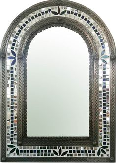 Elegant and rustic are two terms which can fully describe this decorative tin mirror. Its frame is made of punched tin decorated with small mosaic glass mirrors. Arch Mirror, Metal Mirror, Glass Mirrors, Mosaic Glass, Mosaic Tiles, Moroccan Mirror, Bad, Living Room Decor, Living Rooms
