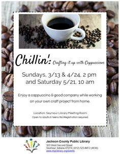 THIS PROGRAM HAS EXPIRED -- Bring your craft project from home and enjoy cappuccino and good company!