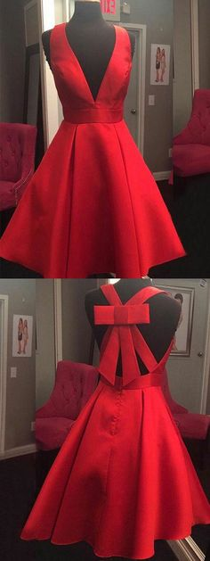 red homecoming dresses, short homecoming dresses, deep v neck homecoming prom gown