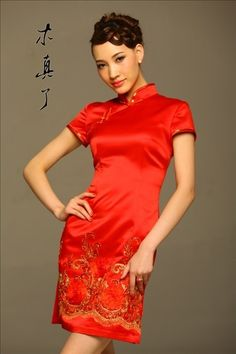 Drunk beauty. Embroidered Elegant Bridal Red Qipao Dress | Chinese Unique Boutique