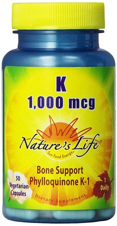 Nature's Life K , Bone Support, Phylloquinone, 1000 Mcg, 50 Vegetarian Capsules -- Visit the image link more details. (This is an Amazon Affiliate link and I receive a commission for the sales)
