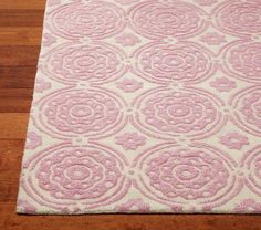 pink and white Sweet Flower Rug | Pottery Barn Kids