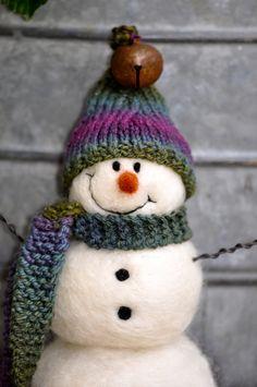 Snowman Needle felted Snowmen hand spun and by BearCreekDesign