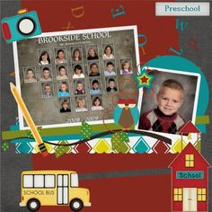 School picture scrapbook page School Scrapbook Layouts, Kids Scrapbook, Scrapbook Sketches, Scrapbook Albums, Scrapbooking Layouts, Scrapbook Cards, Picture Scrapbook, Class Pictures, School Pictures