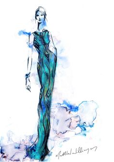 Matthew Williamson's sketch of the Swarovski crystal peacock gown. Stunning.