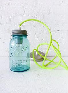 Vintage Mason Ball Jar Pendant with Neon Yellow cord