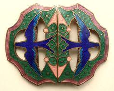 ANTIQUE GUILLOCHE ENAMEL GILT ART NOUVEAU BLUEBIRD BUCKLE RARE COLLECTORS ITEM