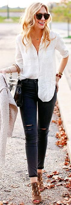 Cream Fuzzy Jacket White Button Up Black Ripped Jeans Camel Sandals Fall Inspo by A pInch Of Lovely