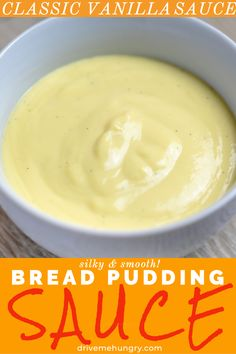 This is a luscious, silky, smooth vanilla sauce that's so versatile and easy to make. Makes an amazing bread pudding sauce! Pair this with any dessert! Bread Pudding Sauce, Best Bread Pudding Recipe, Custard Sauce, Chocolate Bread Pudding, Custard Pudding, Pudding Recipes, Sauce Recipes, Bread Recipes, Cooking Recipes