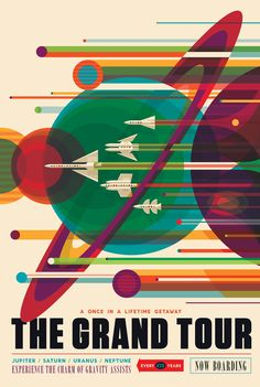 Fourteen space travel posters of colorful, exotic space settings are now available free for downloading and printing.