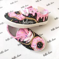 shoes message Custom donut canvas shoes - personalized doughnut shoes - toddler donut present - donut birthday party - kids custom doughnut gift - sweets Disney Painted Shoes, Painted Canvas Shoes, Custom Painted Shoes, Disney Shoes, Hand Painted Shoes, Custom Shoes, Painted Toms, Vans Slip On Shoes, Lace Up Shoes