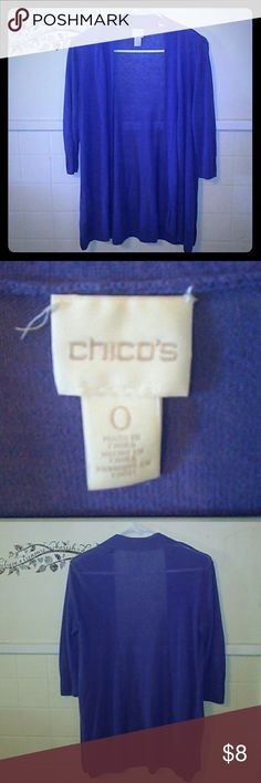 Chico's Long Cardigan Sz 0 Chico's Long Cardigan Sz 0. Excellent condition. Kind of a periwinkle color. Very pretty. Chico's Sweaters Cardigans