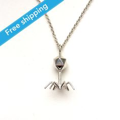 science jewelry: silver bacteriophage necklace - 3D printed bacteriophage pendant - wearable virus - microbiology - bacterium