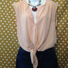 Adorable sheer top Peach with tie in front, sleeveless American Eagle Outfitters Tops