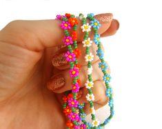 Daisy Chain Bracelet Seed Bead Friendship by JewelleryByJora