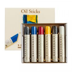 Sennelier Oil Sticks, set of 6 | £28.50 |Paint applied dries within 2 to 5 days depending on layer thickness and atmospheric conditions | 38ml oil paint bars. Includes the following colours, though colours may vary: Titanium White, Ivory Black, Primary Yellow, Primary Red, Primary Blue, Viridian.