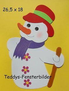 Teddys Fensterbilder 854  ´ Schneemann mit Stock ` Tonkarton