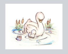 MY BABY COLLECTIONMy Baby Swan. Print 8X10. van LoxlyHollow op Etsy