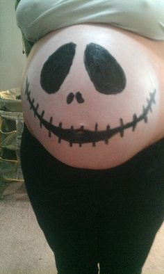 painted baby belly for halloween - Pregnant Halloween Painted Bellies