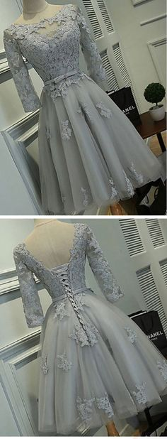 Short Prom Dresses, Lace Prom Dresses, Half Sleeve Silver Tulle with Lace Appliqued Short Prom Dresses