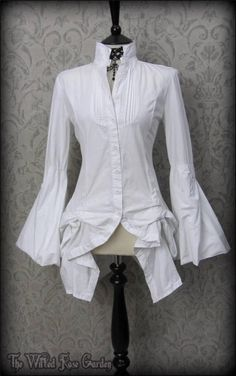 Victorian Goth White High Collar Hitched Bustle Shirt 8 10 Vampire Mistress | THE WILTED ROSE GARDEN