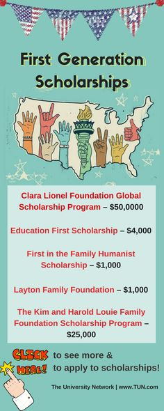Here is a selection of First Generation Scholarships that are listed on TUN.