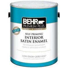 BEHR Premium Plus 1 gal. Ultra Pure White Hi-Gloss Enamel Interior/Exterior Paint 805001 at The Home Depot - Mobile Paint Primer, Paint Stain, Behr Paint, Exterior Paint, Interior And Exterior, Interior Design, Behr Premium Plus, Enamel Paint, Interiors