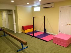 Basement Remodel with a kids gymnastics area. Basement Remodel with a kids gymnastics area. Gymnastics Equipment For Home, Gymnastics At Home, Gymnastics Stuff, Gymnastics Clothes, Gymnastics Problems, Tumbling Gymnastics, Amazing Gymnastics, Gymnastics Videos, Gymnastics Pictures