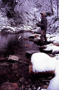 Fly fishing in the winter.