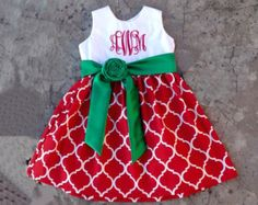 Girls christmas dress, baby girl christmas outfits, Red and green quatrefoil dress, monogrammed baby clothes, toddler girl outfits
