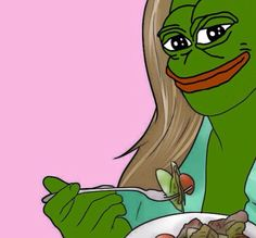 Here is Pepe, as a women, eating a salad!