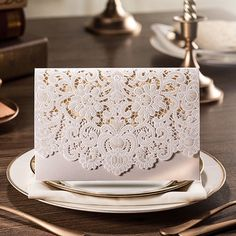 "graceful pearl white laser cut pocket envelope wedding invitation//Use coupon code ""rpin"" to get 10% off towards all the invitations. #elegantweddinginvites"
